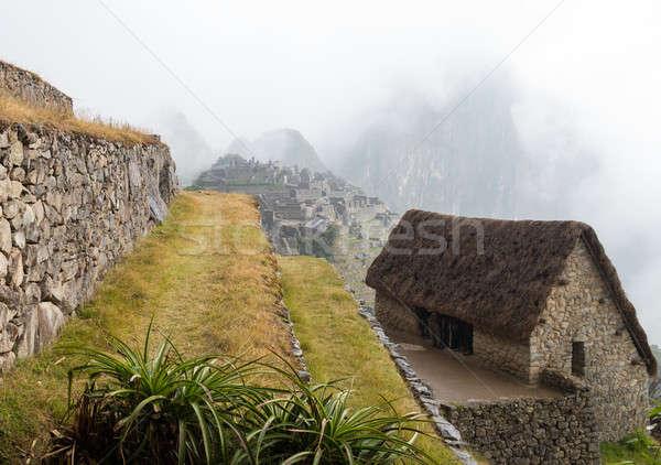 Machu Picchu regio Peru ochtend toeristen onderdak Stockfoto © backyardproductions