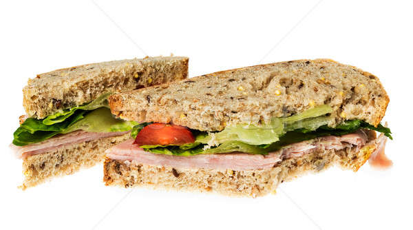 English multigrain bread ham sandwich with bite Stock photo © backyardproductions