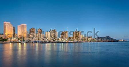 Panorama waikiki Honolulu Hawaii skyline park Stockfoto © backyardproductions