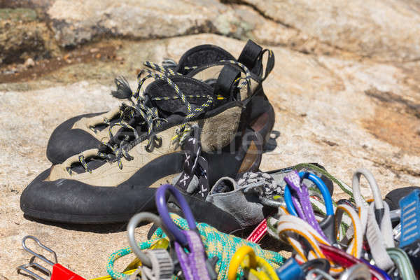 Stock photo: Close up of rubber climbing shoe on rock