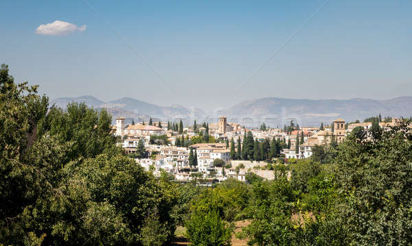 Panoramic view of Granada city in Spain Stock photo © backyardproductions