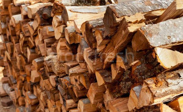Ahşap yakacak odun uzun odak model Stok fotoğraf © backyardproductions