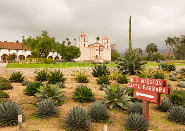 Cloudy stormy day at Santa Barbara Mission Stock photo © backyardproductions