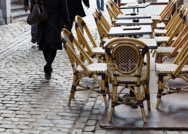 Empty cafe tables in Brussels cobbled square Stock photo © backyardproductions