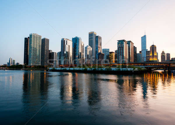 Zonsondergang Chicago pier skyline hemel Blauw Stockfoto © backyardproductions