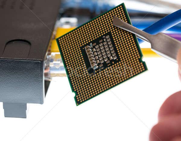 Kábelek router zárt makró fókusz internet Stock fotó © backyardproductions