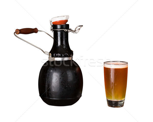 Isolated cutout of growler and glass of beer Stock photo © backyardproductions