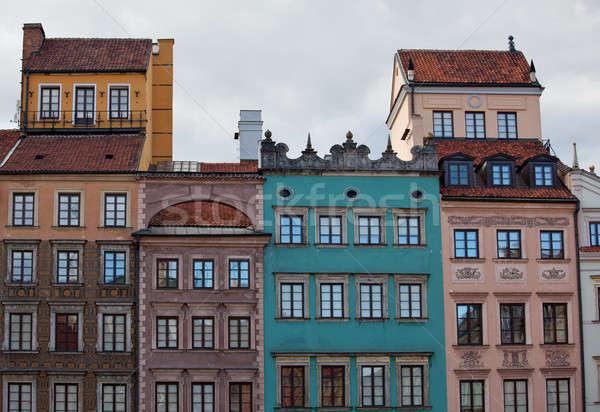 Oude binnenstad Warschau Polen tonen gekleurd Stockfoto © backyardproductions