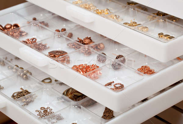 Drawers of jewelery findings Stock photo © backyardproductions