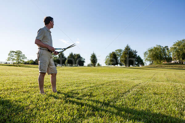 Senior man cutting grass with shears Stock photo © backyardproductions