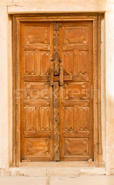 Tároló ház Bahrein részlet fából készült ajtó Stock fotó © backyardproductions