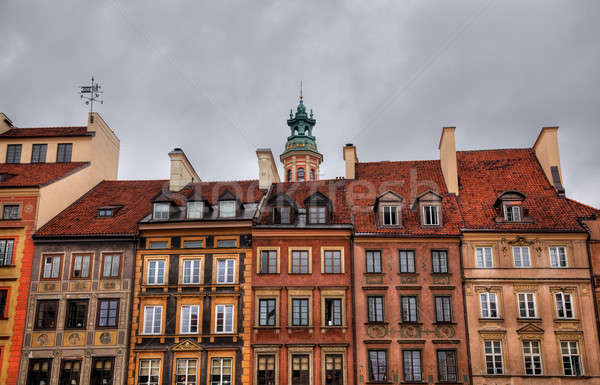 HDR image of old Warsaw houses Stock photo © backyardproductions