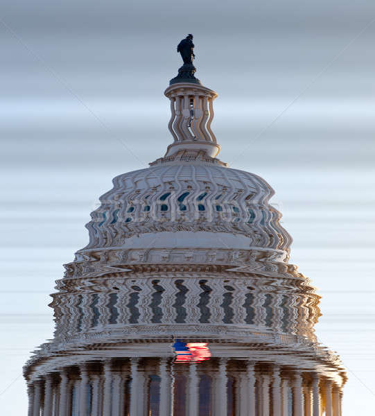 Distorto view cupola bandiera Washington DC congresso Foto d'archivio © backyardproductions