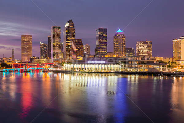 City skyline of Tampa Florida at sunset Stock photo © backyardproductions