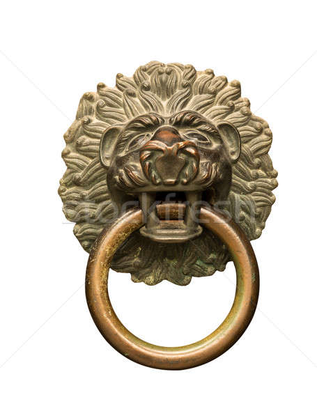 Lions head door knocker and ring Stock photo © backyardproductions