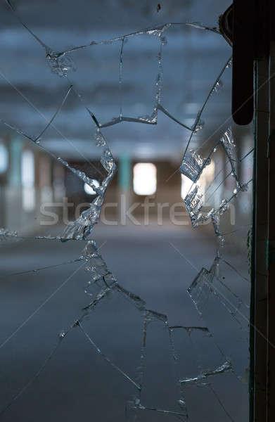 Törött üveg ablak üres szoba ijesztő kép vezető Stock fotó © backyardproductions