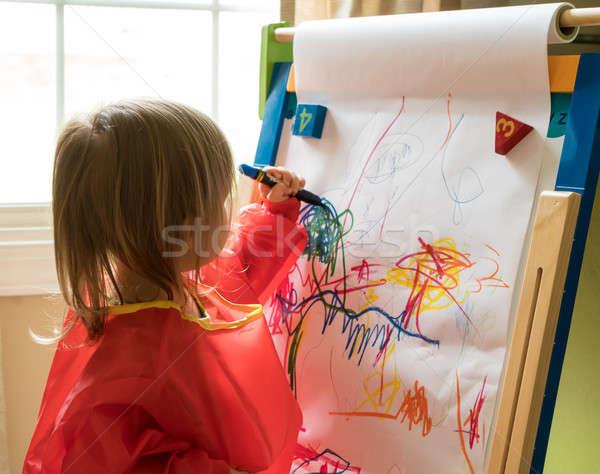 Fiatal kislány rajz festőállvány kétéves lány Stock fotó © backyardproductions