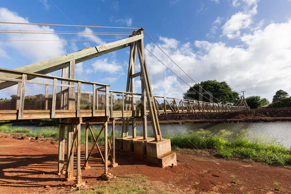 View of the famous swinging bridge in Hanapepe Kauai Stock photo © backyardproductions