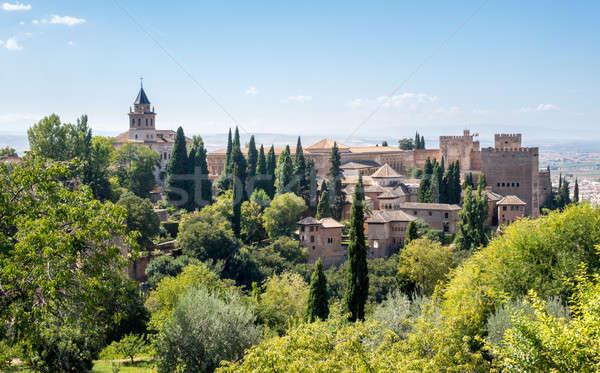 Kilátás Alhambra palota Spanyolország templom kertek Stock fotó © backyardproductions