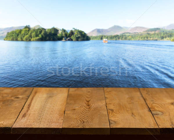 Old wooden table or walkway by lake Stock photo © backyardproductions