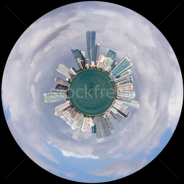 View of Miami Skyline as Little Planet Stock photo © backyardproductions