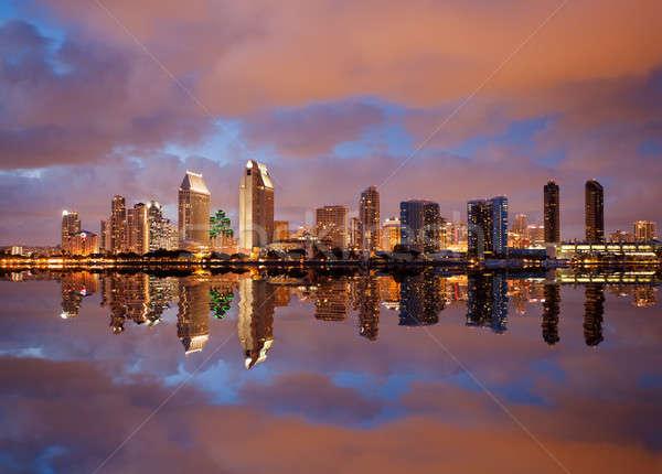 San Diego linha do horizonte crepúsculo mar cityscape centro da cidade Foto stock © backyardproductions