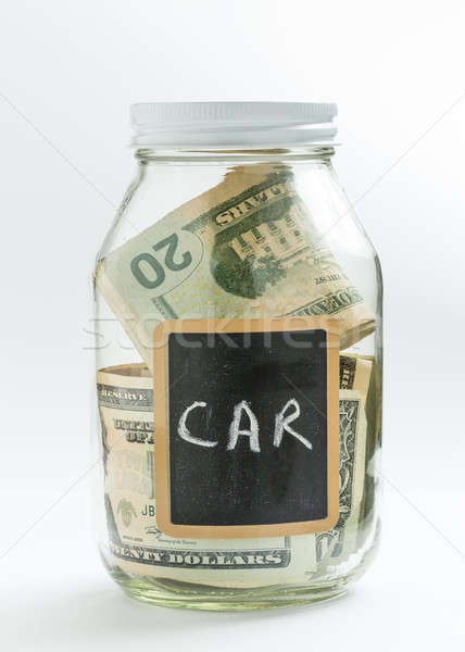 Glass Jar with chalk panel used for car expenses Stock photo © backyardproductions