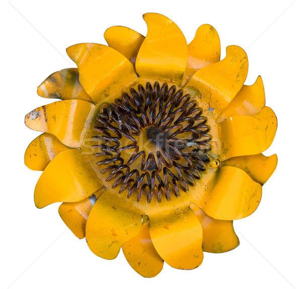Metal sunflower isolated against white Stock photo © backyardproductions