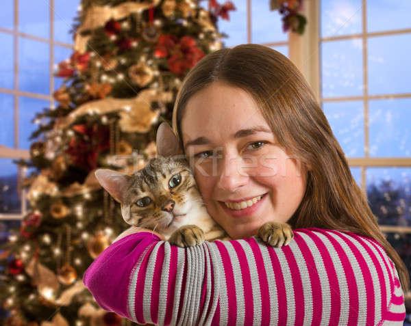 Bengal cat on girls arm Stock photo © backyardproductions