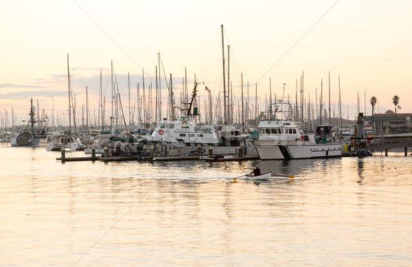 Rowing boat entering Ventura harbor dawn Stock photo © backyardproductions