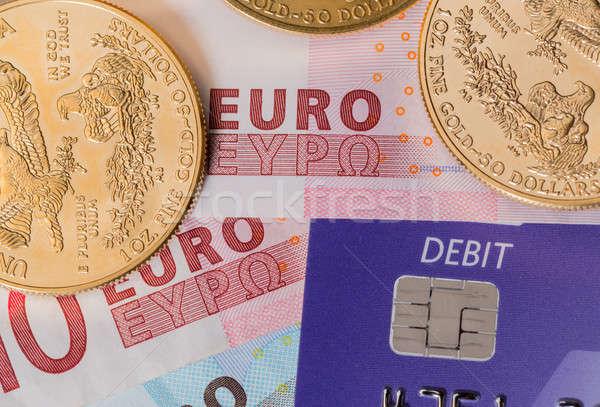 Gouden munten chip pin debit card solide debet Stockfoto © backyardproductions