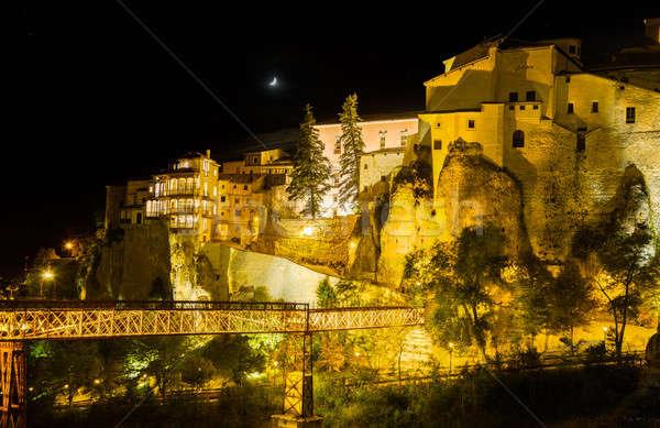 Night shot of Cuenca in Castilla-La Mancha, Spain Stock photo © backyardproductions