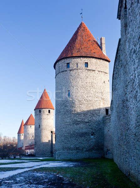 Quattro torri città muro Tallinn antica Foto d'archivio © backyardproductions