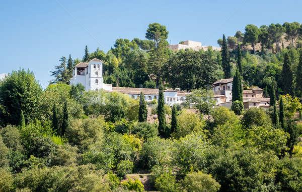 View of Generalife gardens in Alhambra in Granada  in Spain Stock photo © backyardproductions