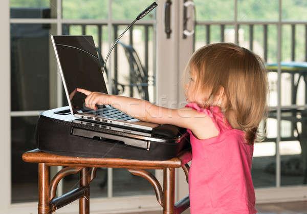 Fiatal kislány játszik laptop kétéves lány Stock fotó © backyardproductions