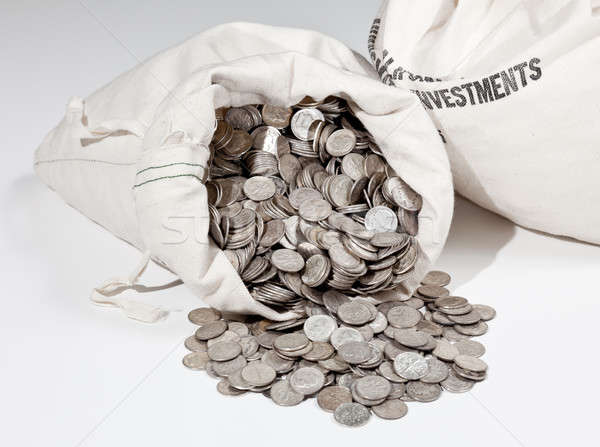 Bag of silver coins Stock photo © backyardproductions