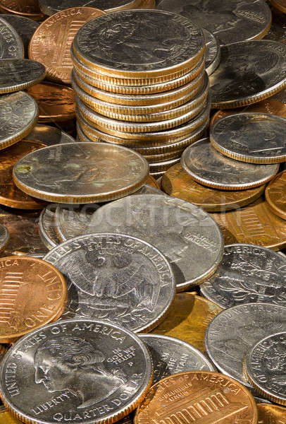Pile of loose US coins in macro Stock photo © backyardproductions