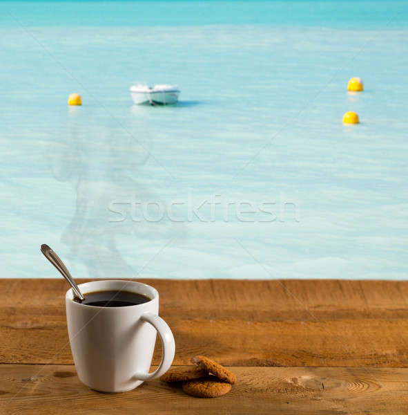 Matin tasse café chaud Caraïbes mer Photo stock © backyardproductions