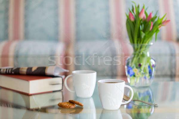 черный кофе белый кружка стекла таблице современных Сток-фото © backyardproductions