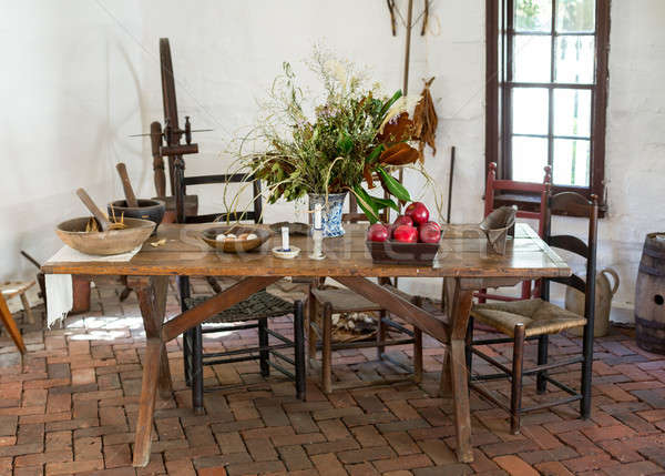 Old fashioned colonial kitchen table Stock photo © backyardproductions