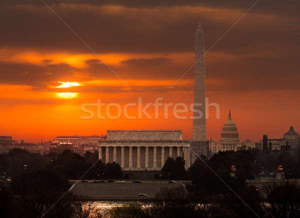 Fiery sunrise over monuments of Washington Stock photo © backyardproductions
