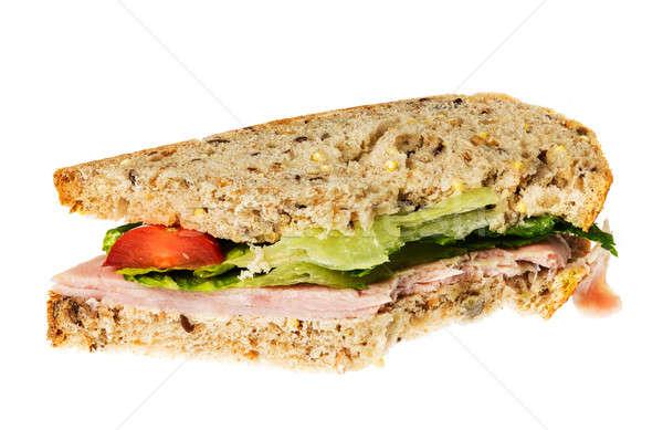 Inglês pão presunto sanduíche morder isolado Foto stock © backyardproductions