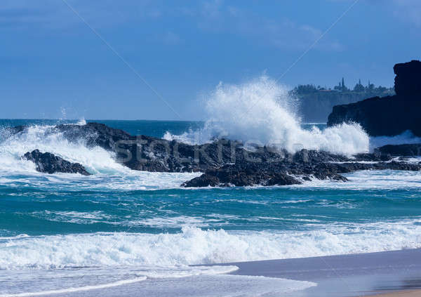 Puissant vagues roches plage dramatique Photo stock © backyardproductions