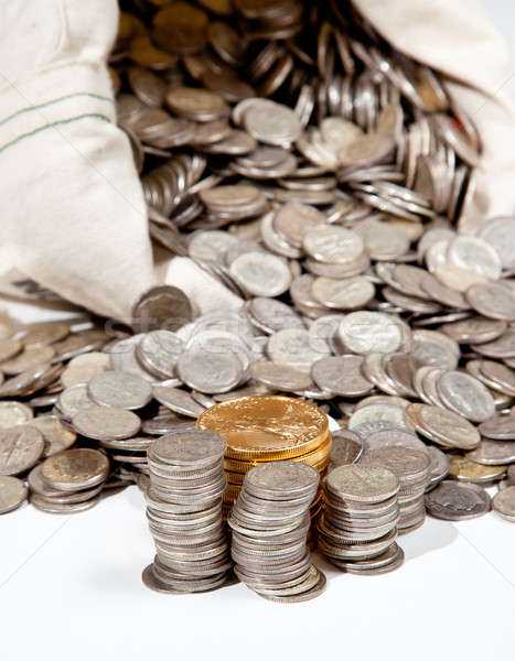 Bag of silver and gold coins Stock photo © backyardproductions