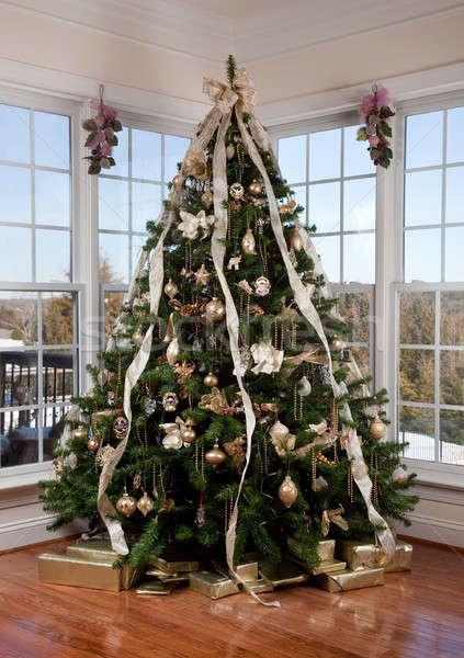 рождественская елка углу украшенный рождество дерево большой Сток-фото © backyardproductions