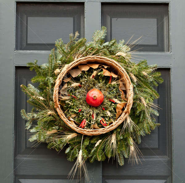 Stock photo: Traditional xmas wreath on front door