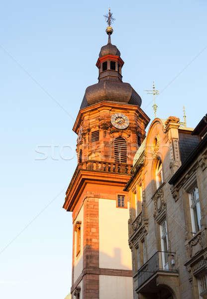 Cidade velha Alemanha cidade vermelho tijolo igreja Foto stock © backyardproductions