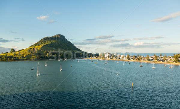 Porto água paisagem montanha barco Foto stock © backyardproductions