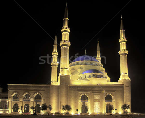 Floodlit Blue Mosque in Beirut Stock photo © backyardproductions