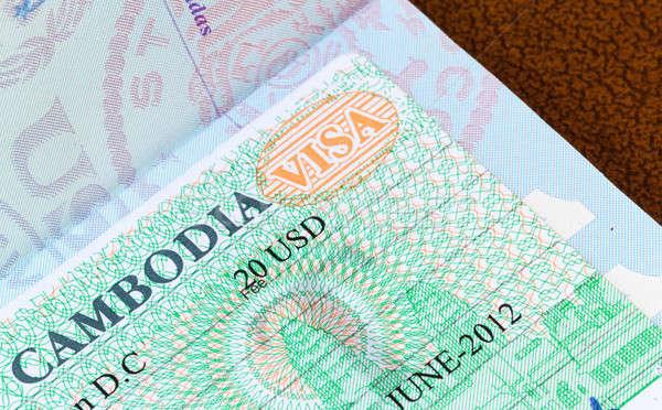Visum Cambodja paspoort USA business veiligheid Stockfoto © backyardproductions